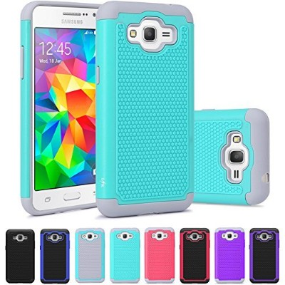 Grand Prime Case, LK [Shock Absorption] Hybrid Dual Layer Armor Defender Protective Case Cover for...