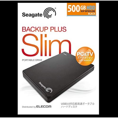 Seagate BackupPlusSlim2.5inch_500GB USB3.0 ポータブルハードディスク【SGP-BP005UBK】