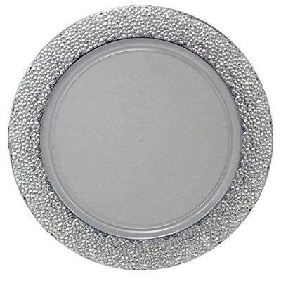 (Clear/Silver) - Posh Setting Clear Charger Plates, Silver Hammered Design, Medium Weight 33cm,...