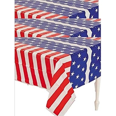 (3) - Patriotic Flag Table Covers Set of 3 - Red White and Blue Tablecloths