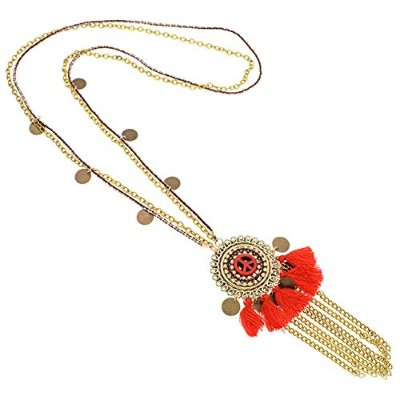 Red Colorful Bohemia Tassel Statement Stone Rope Chain Pendant Necklace [並行輸入品]
