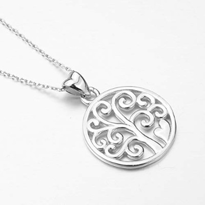Sterling Silver Tree of Life Pendants Trendy Family Tree Round Choker Necklace [並行輸入品]