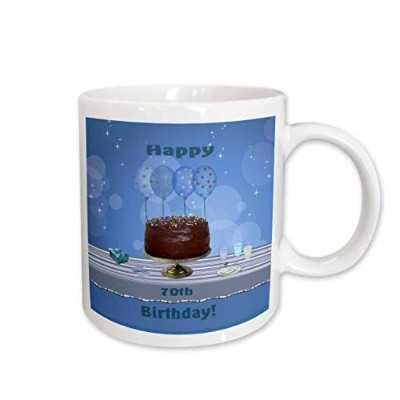 (440ml) - 3dRose 70th Birthday Party with Chocolate Cake and Blue Balloons Ceramic Mug, 440ml
