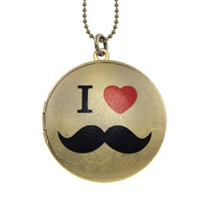 I Heart Moustache真鍮フォトロケットペンダント – Artロケット