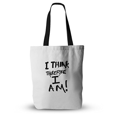 """Kessインハウスブルース・Stanfield """" I think , therefore I am」ホワイトTypography Everythingトートバッグ、18"""" x 18インチ..."""