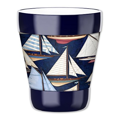 MugzieタンブラーDrink Cup with Removable Insulatedウェットスーツカバー – Sail Boats 12オンス 4300-LBAL