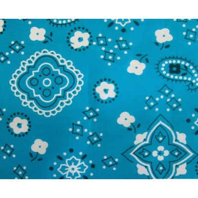 Bandana Turquoise Poly Cotton 58 Wide Fabric By the Yard (F.E.テつョ) by The Fabric Exchange