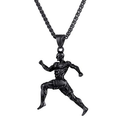 Black Gun Plated Fitness Sports Running Chain Pendant Muscle Bodybuilding Necklace [並行輸入品]