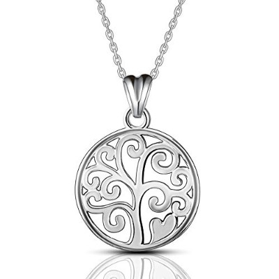 Sterling Silver Tree of Life Trendy Family Tree Round Choker Pendant Necklace [並行輸入品]