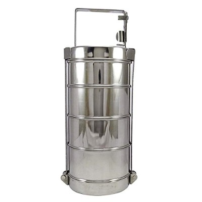 4-Tier Stainless Steel Indian Tiffin Lunch Box 9.5x4.5 inch (Approx), Box for Storage Food for...