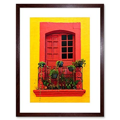 Photo Bright Red Yellow Window Sill Mexican House Framed Wall Art Print 写真明るい黄家壁
