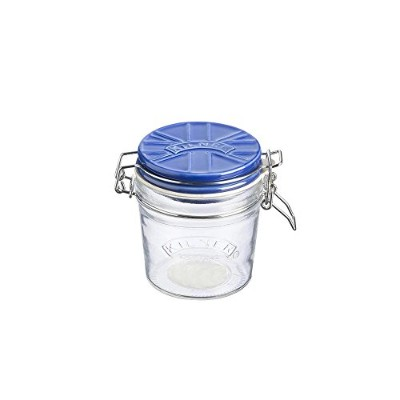 Kilner Glass Cliptop Jar With Blue Union Flag Ceramic Lid, Transparent, 0.35 Litre