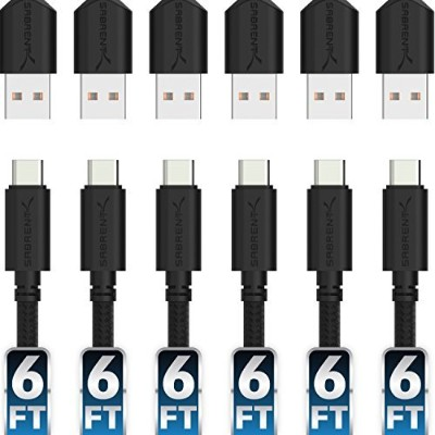 Sabrent [6-Pack] 22AWG Premium 1.8m USB-C to USB A 2.0 Sync and Charge Cables [Black] (CB-C6X6)