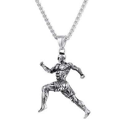 Fitness Sports Muscle Bodybuilding Running Stainless Steel Chain Pendant Necklace [並行輸入品]