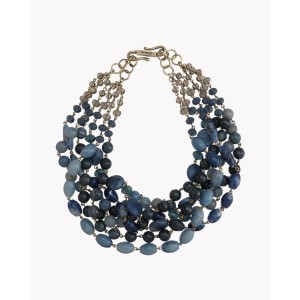 【Theory】Kong qi Color Stone Necklace 青ベースの凛とした佇まいが印象的な六連ネックレス。 その他 大人 セオリー
