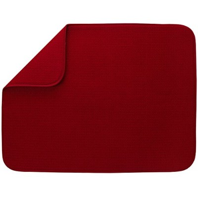 (Racer Red) - S & T XL Microfiber Dish Drying Mat, 46cm x 60cm, Red