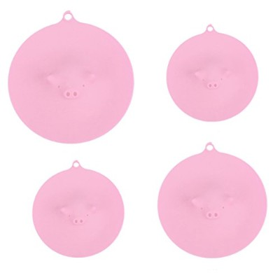 (Pink) - Fivebop Silicone Suction Lids Covers Piggy Steamer, Suitable for Cups, Mugs, Bowls or...