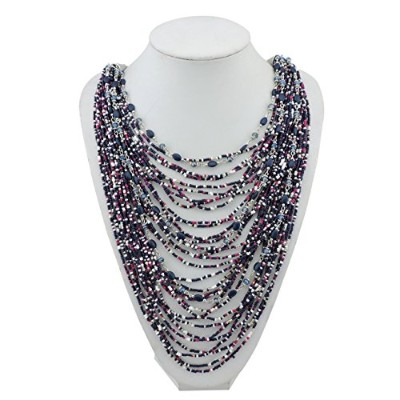 (Astral Aura) - BOCAR Multi-Layer Long Chain Chunky Bib Seed Beads Statement Necklace (NK-10410)