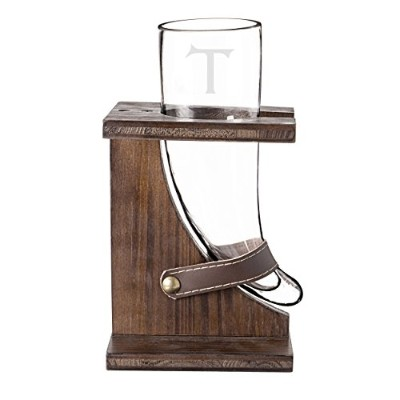 (Letter T) - Cathy's Concepts Personalised Glass Viking Beer Horn with Rustic Stand, Letter T