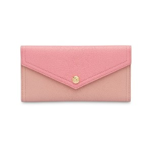 Miu Miu Two-tone Madras leather wallet - ピンク