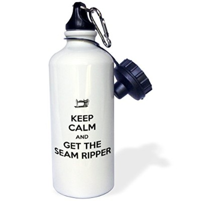 3dRose wb_172006_1 Keep calm and get the seam ripper, White and Black, Sports Water Bottle, 21oz