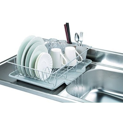 (Silver) - 3-piece Kitchen Sink Dish Drainer Set Available in 4 Colours (Silver)