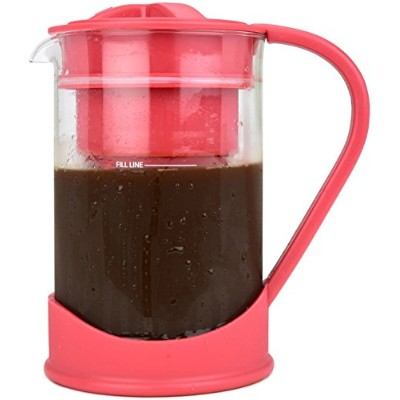 (Red) - COLD BREW COFFEE MAKER By Spigo 1 Litre (4-Cups) Capacity, Great For Flavorful Iced Coffee...