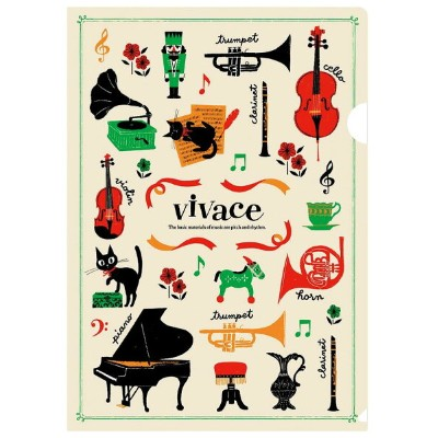◎A4クリアファイル vivace  VC1815-01 アイボリー 音楽雑貨