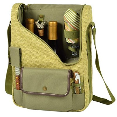 (Olive/Tweed) - Picnic at Ascot Wine and Cheese Cooler Bag Equipped for 2 with Glasses, Napkins,...
