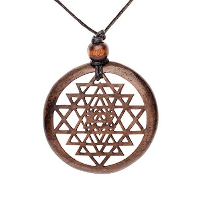 81stgeneration Women's Men's Wood Brown Round Sri Cosmic Yantra Ethnic Adjustable Pendant Necklace