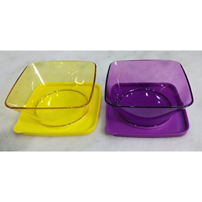 Tupperware Clear Square Round ( Set of 4)