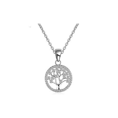 Tree of Life Round Hollow Sterling Silver Authentic Pendant Necklace [並行輸入品]