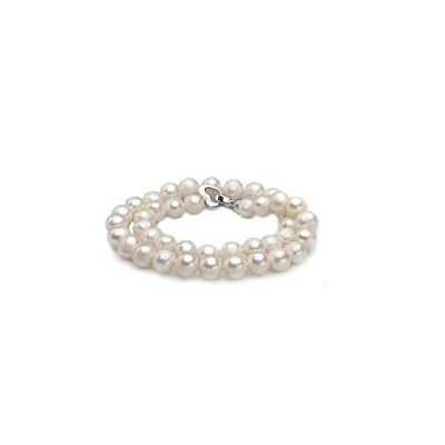 Freshwater bridal natural 7-8mm pearl necklace with silver clasp [並行輸入品]