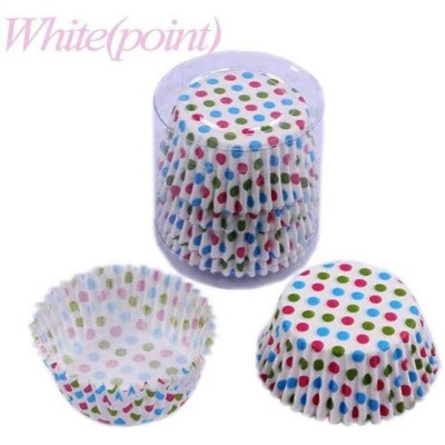 (White(point)) - Humasol 100Pcs Multicoloured Wave Point Paper Cake Cup Liners Baking Cupcake...