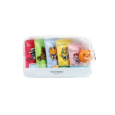 KAKAO Friends Convenience Travel Kit 7 Piece Shampoo,Conditioner,Body Wash,Cleansing Foam,Tooth...