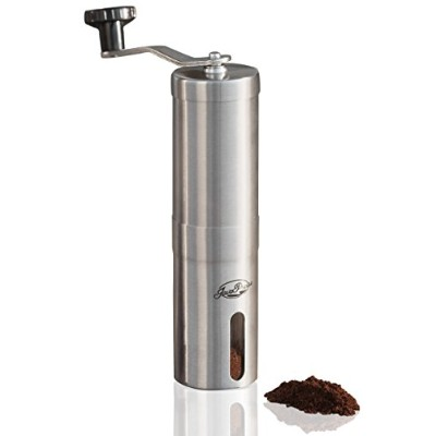JavaPresse Manual Coffee Grinder   Conical Burr Mill for Precision Brewing   Brushed Stainless...