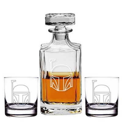 Clone TrooperシルエットEngraved Decanter and Rocks、メガネのセット3