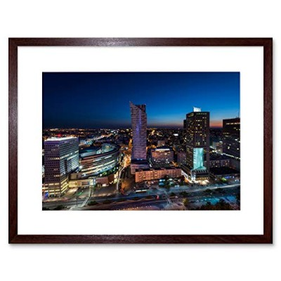 Night Panorama Of Warsaw City Poland Picture Framed Wall Art Print 夜戦争シティポーランド画像壁