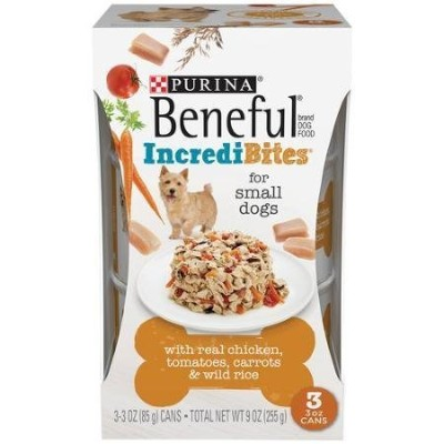Purina Beneful IncrediBites with Realチキン、トマト、人参& Wild Rice Dog Food 3–3G缶、for Small Dogs