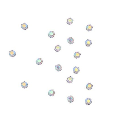 (Abcolor-100pcs) - Zijing 100pcs Silver Clear Czech Glass Rhinestone Rose Montees Beads With 4...