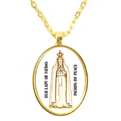 Our Lady of Fatima Saintの平和Huge 30 x 40 mm明るいゴールドペンダントチェーンネックレス