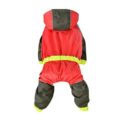 Fashion Look Rainproof Dog Hooded Raincoat - Leisure Fluorescent Pet Rain Jacket Button up Dogs...
