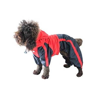 Strong Water Resistant Dog Hooded Raincoat - Stylish Durable Pet Outfits Dog Rain Jacket with...