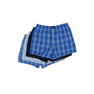 ジョッキー メンズ インナー・下着 ボクサーパンツ【Active Blend Woven Boxer 4-Pack】Blue Plaid/Best Navy/Blue Stripe/Blue...
