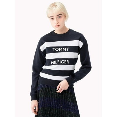 TOMMY HILFIGER (W) トミー ヒルフィガー 【ロゴ ボーダー スウェット】 トミーヒルフィガー カットソー【送料無料】
