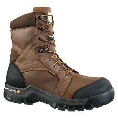 "カーハート レインシューズ・長靴 CMF8389 8"" Rugged Flex Boot Dark Brown Oil Tanned"