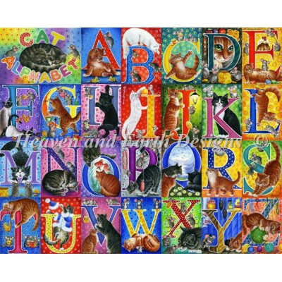 Heaven And Earth Designs クロスステッチ図案 チャート 【キャット・アルファベット】 Supersized Cat Alphabet Max Colors