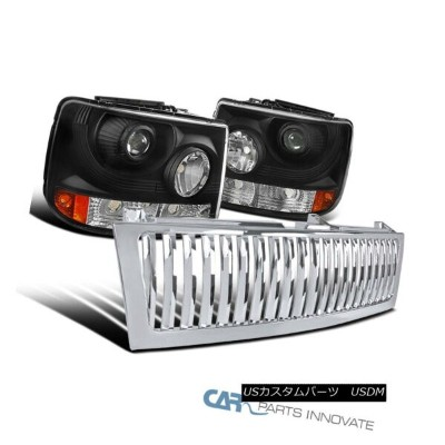 USグリル Chevy 99-02 Silverado 2in1 Black Projector Head Bumper Lights+Chrome Hood Grille Chevy 99-02...