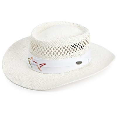 Greg Norman グレッグ・ノーマン メンズ ストローハット ホワイト Men's Branded Straw Hat, White, One Size Fits All