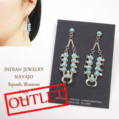OUTLET SALE インディアンジュエリー ナバホ シルバー スカッシュブロッサム ナジャ ピアスINDIAN JEWELRY NAVAJO Silver Earrings